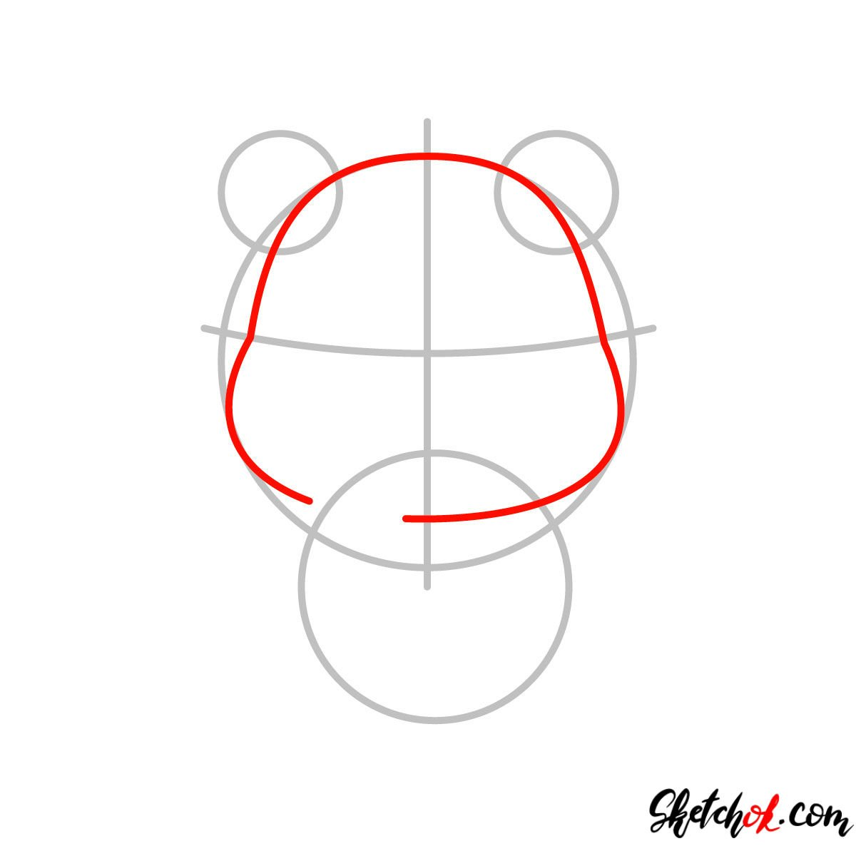 How to draw Pooh Bear chibi - step 02