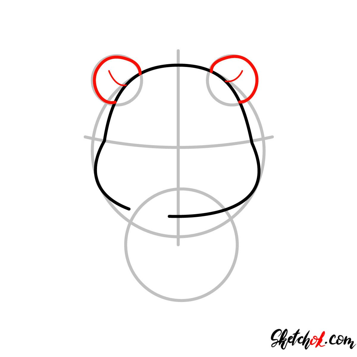 How to draw Pooh Bear chibi - step 03