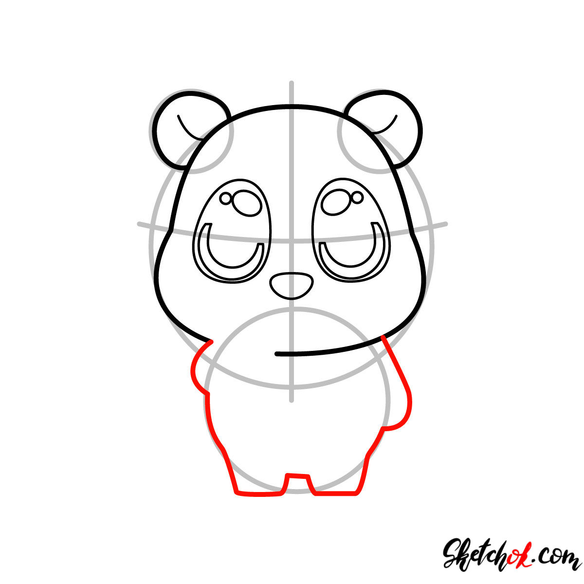 How to draw Pooh Bear chibi - step 05