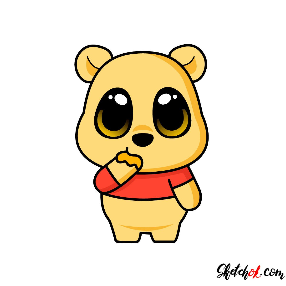 How to draw chibi Pooh Bear