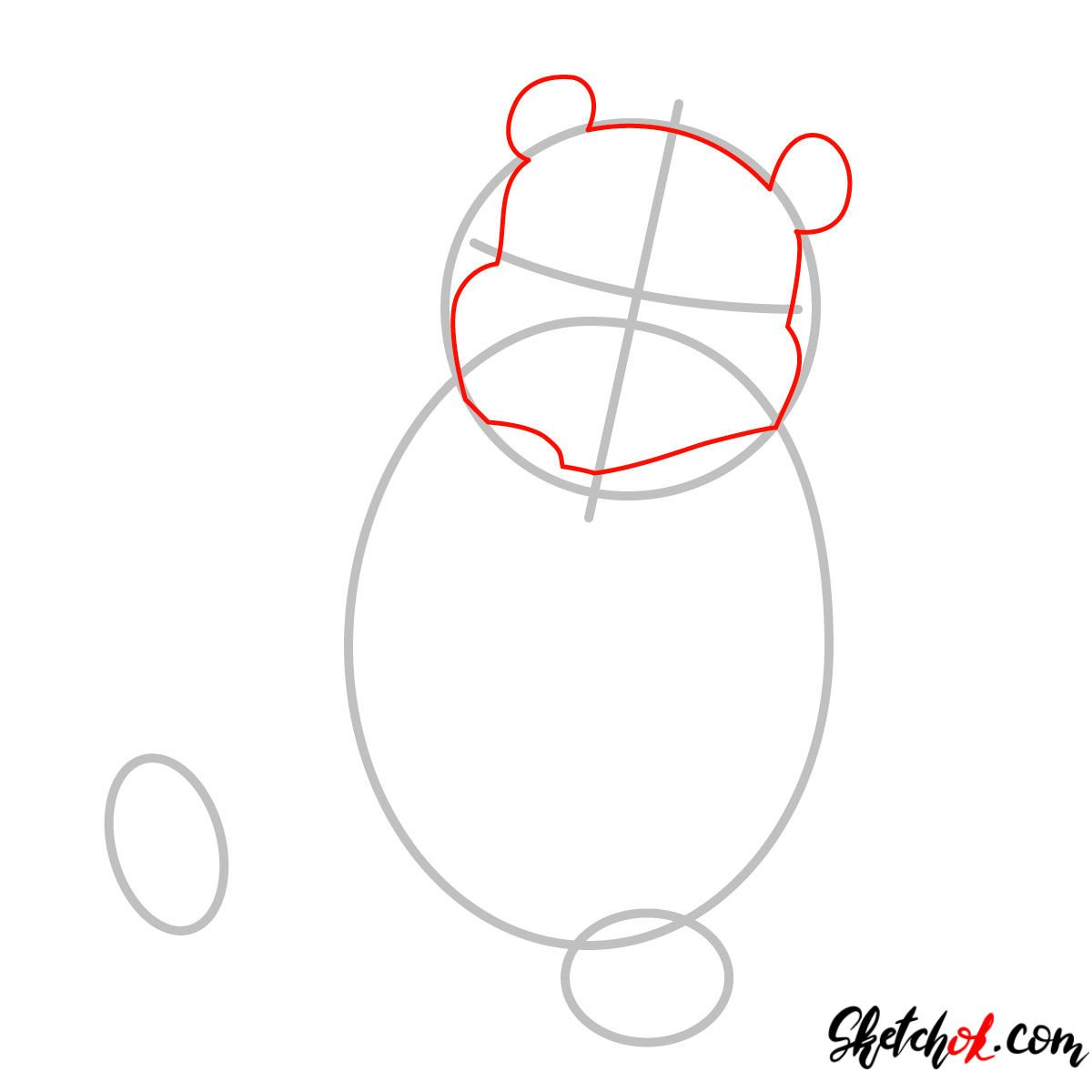 How to draw Winnie-the-Pooh eating honey - step 02