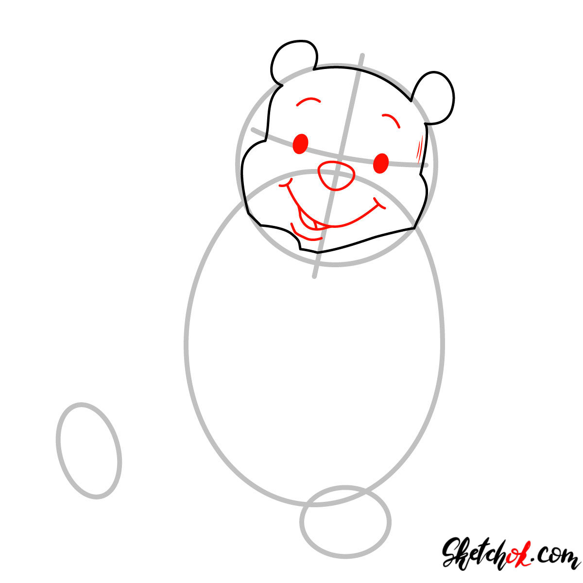 How to draw Winnie-the-Pooh eating honey - step 03