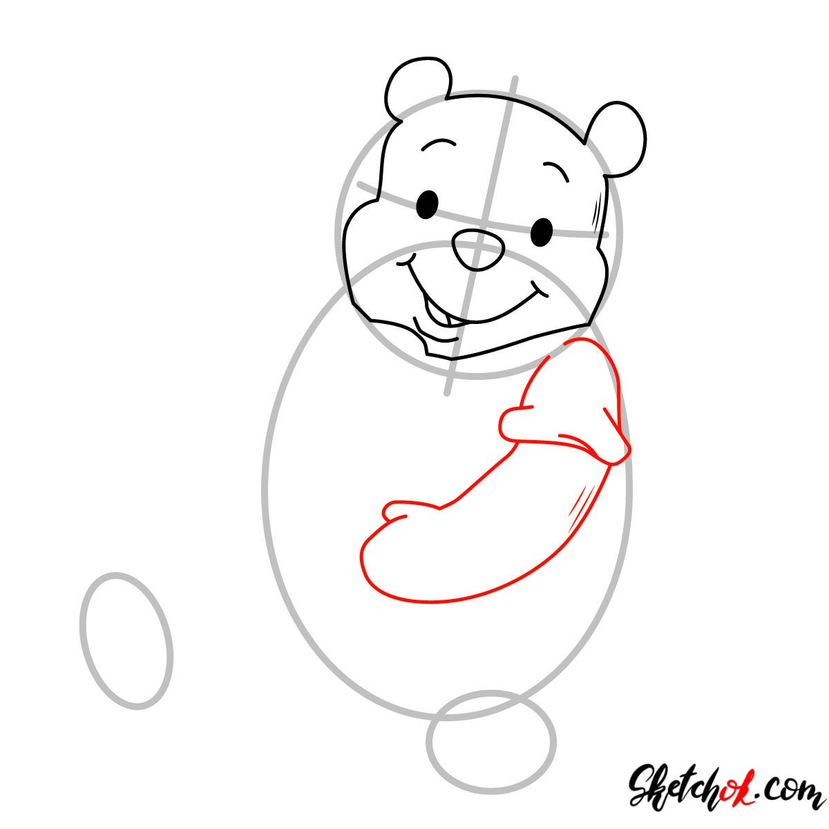How to draw Winnie-the-Pooh eating honey - step 04