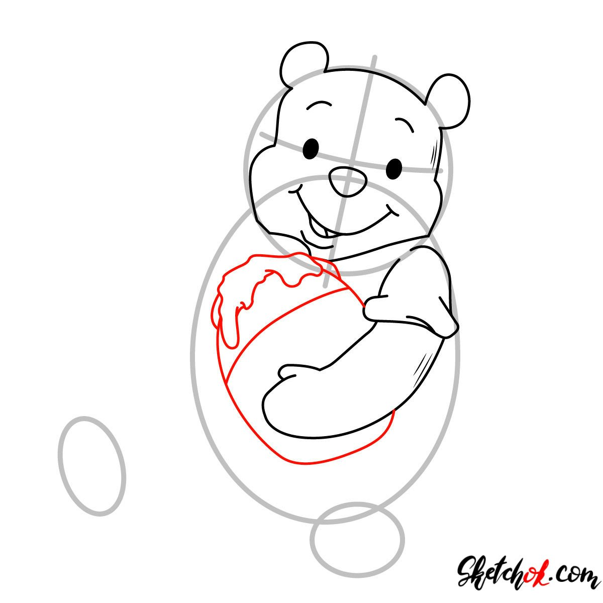 How to draw Winnie-the-Pooh eating honey - step 05