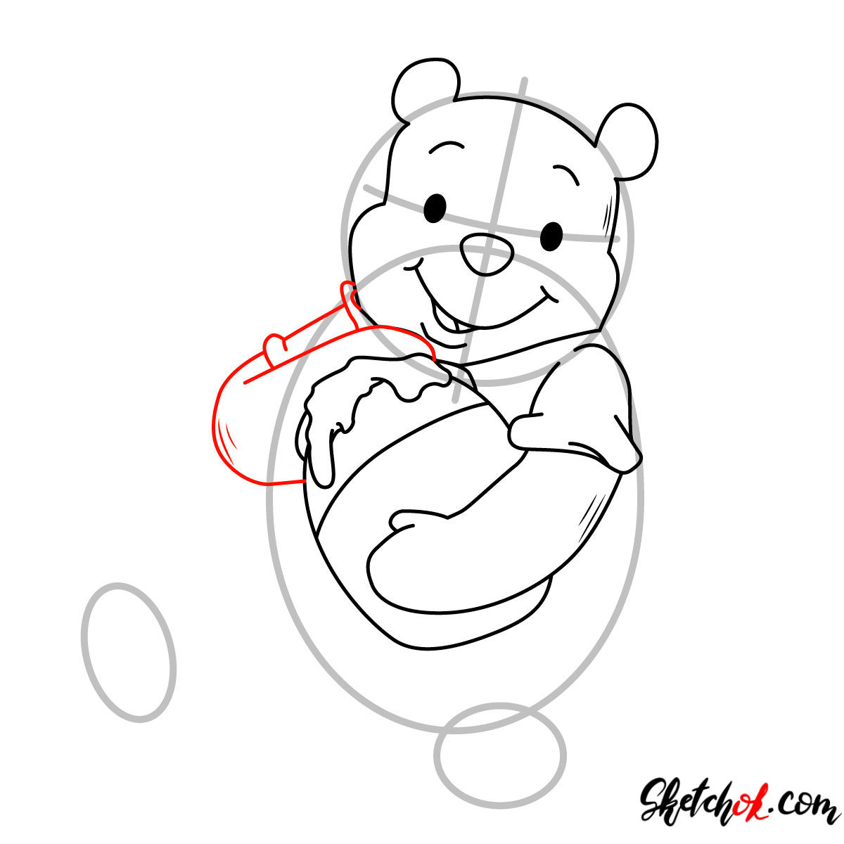 How to draw Winnie-the-Pooh eating honey - step 06