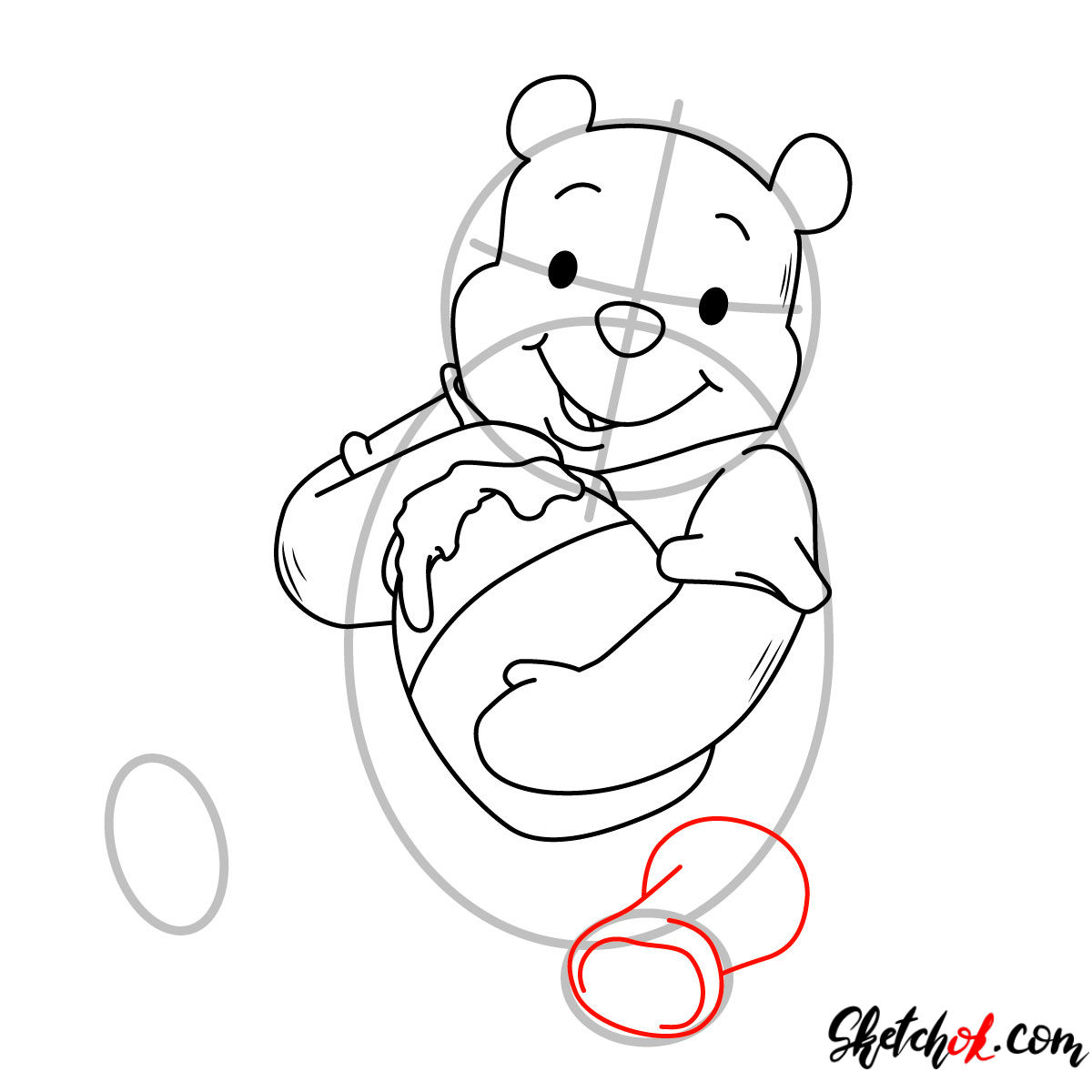 How to draw Winnie-the-Pooh eating honey - step 07