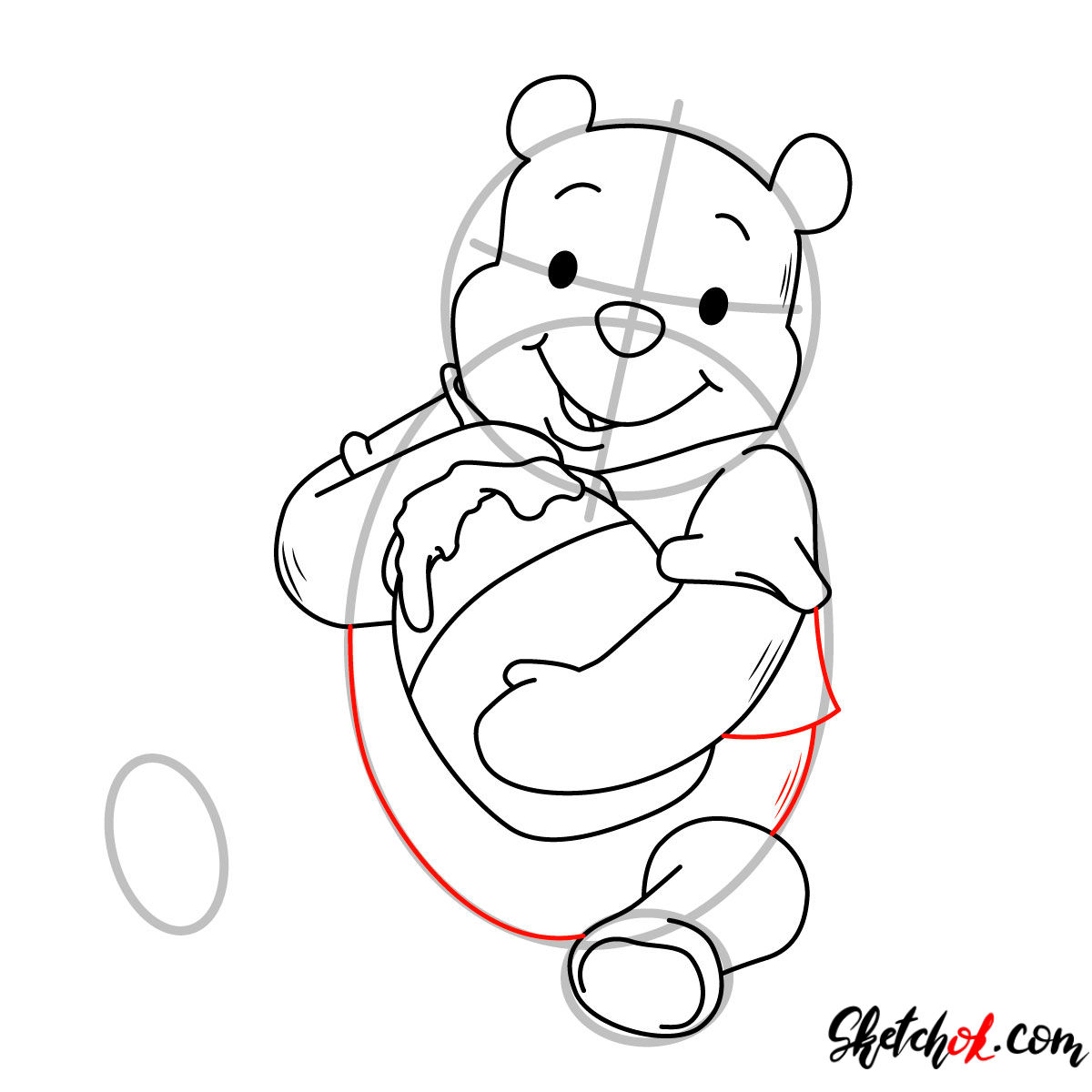 How to draw Winnie-the-Pooh eating honey - step 08