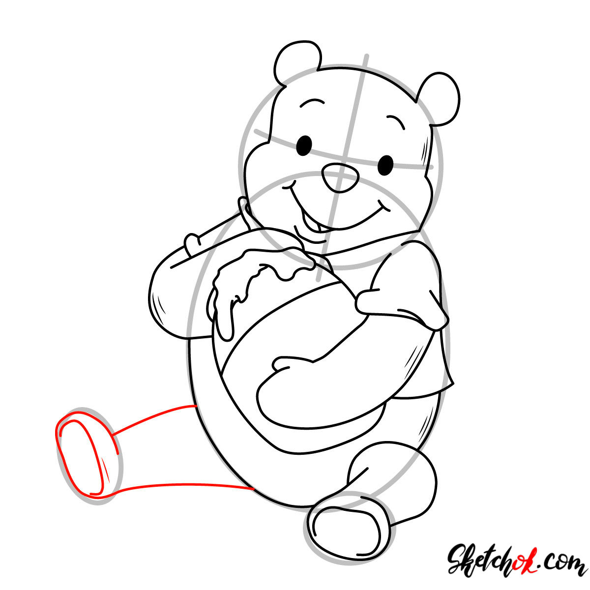 How to draw Winnie-the-Pooh eating honey - step 09