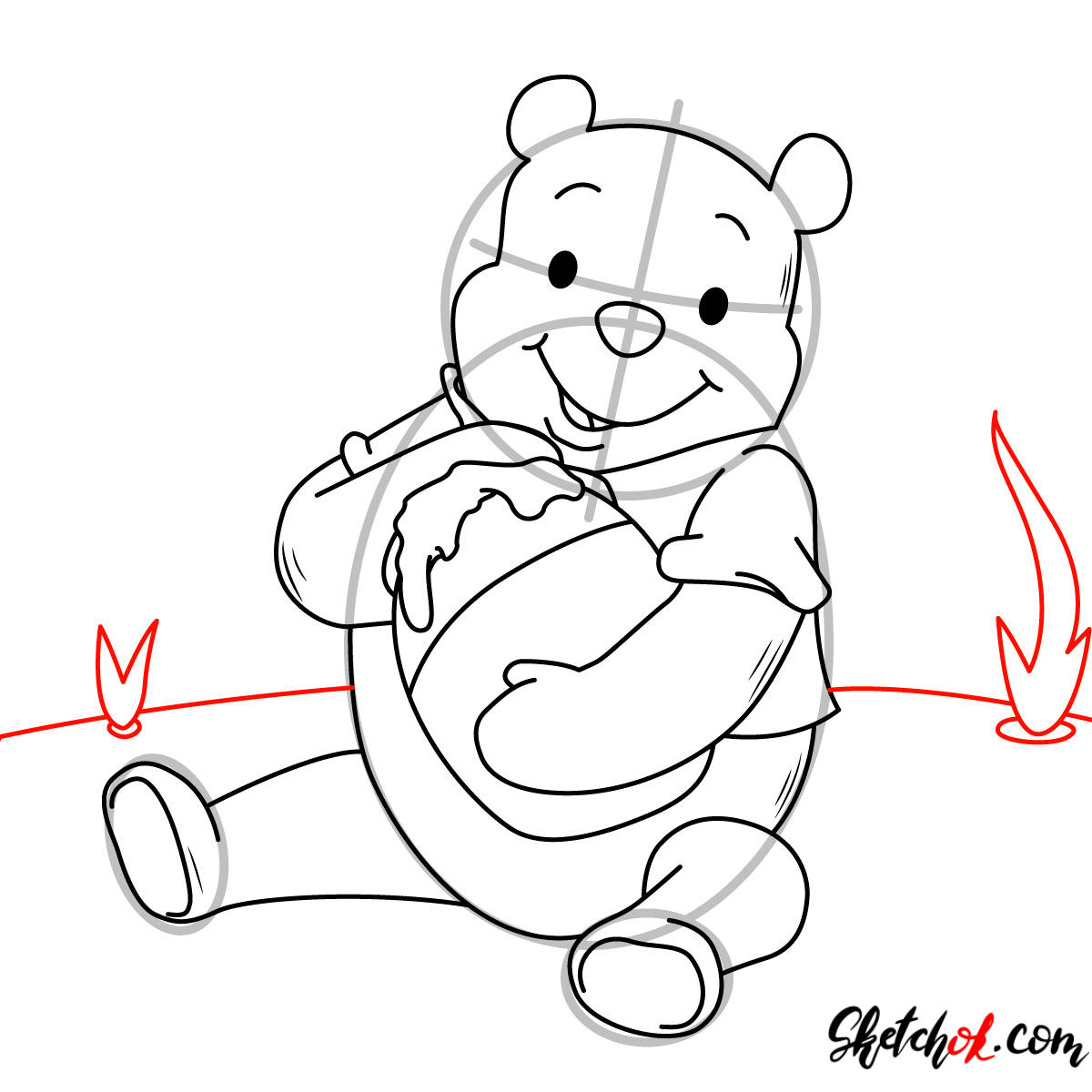 How to draw Winnie-the-Pooh eating honey - step 10