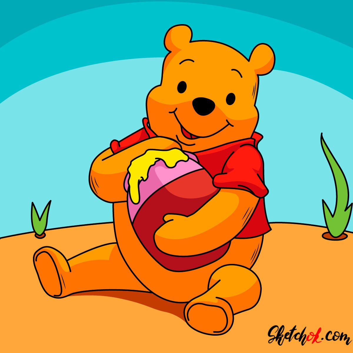 How to draw Winnie-the-Pooh eating honey - coloring