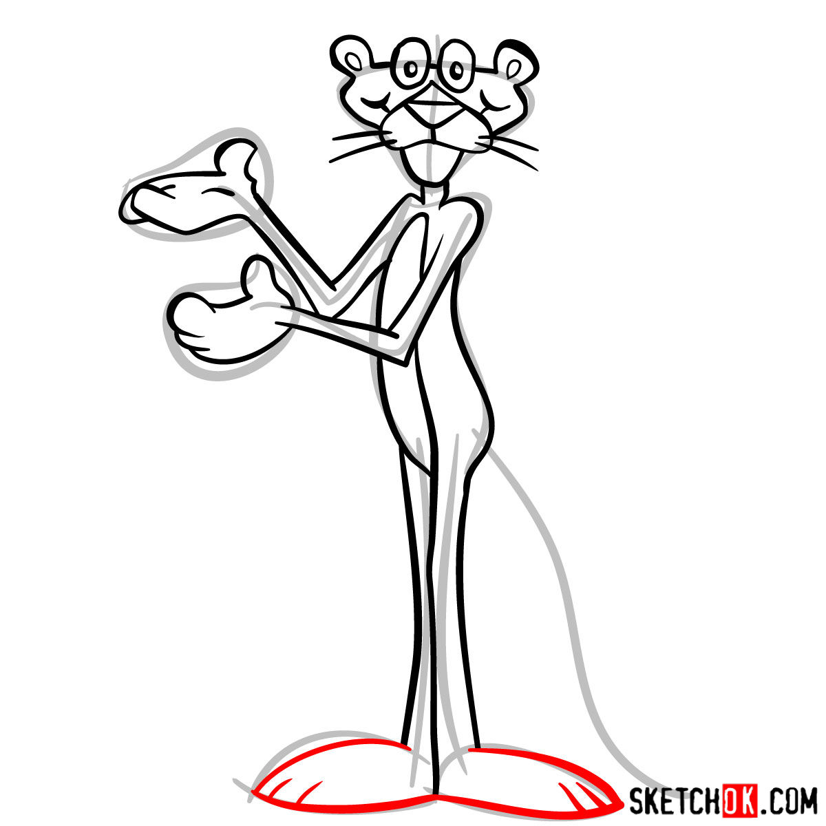 How to draw the Pink Panther - step 12