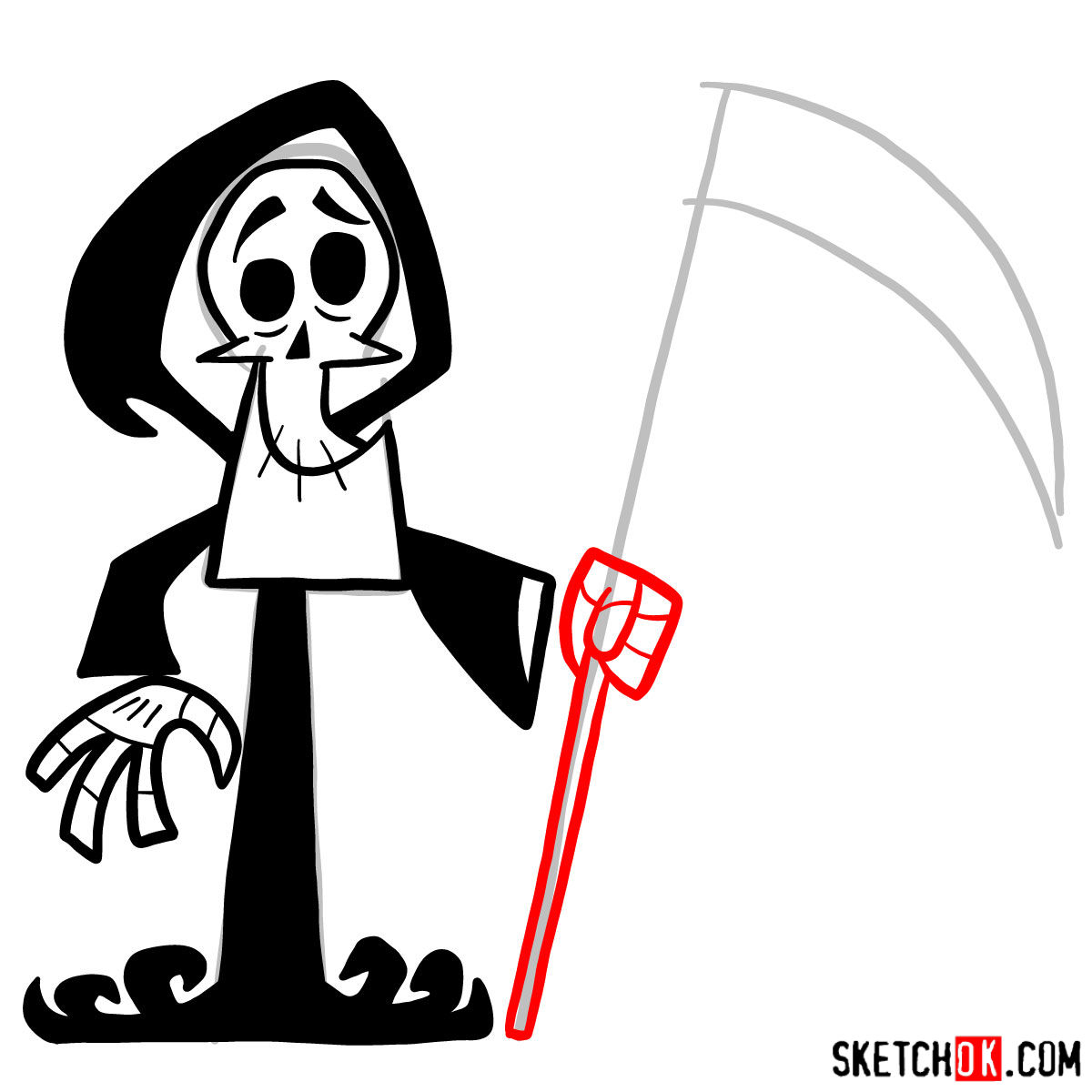 How to draw The Grim Reaper - step 08