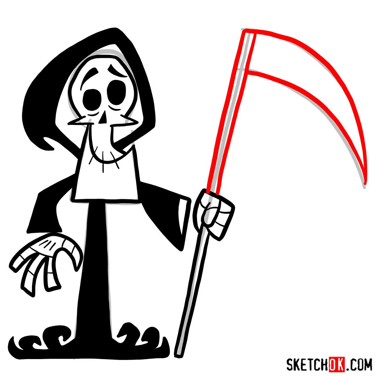 How to draw The Grim Reaper - step 09