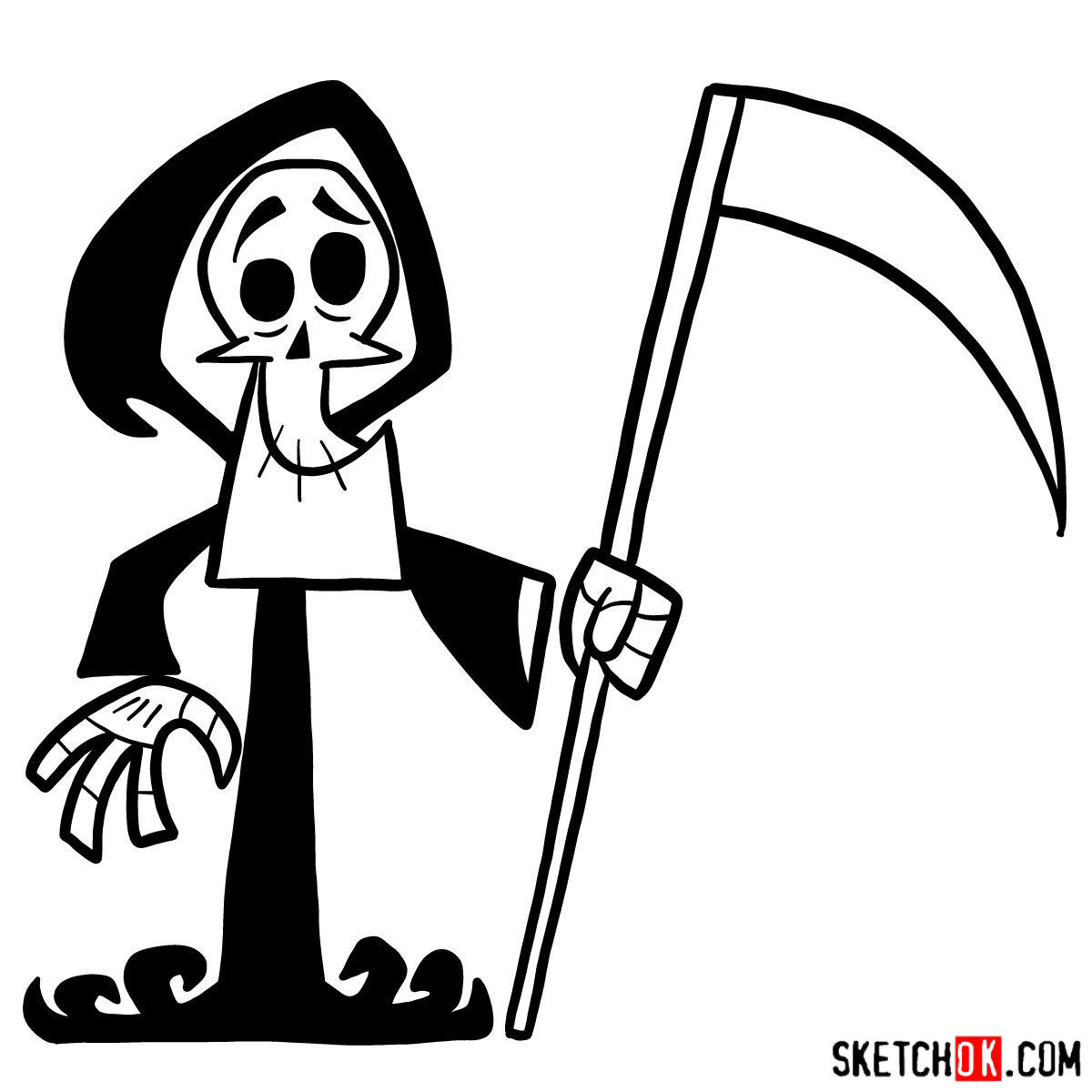 How to draw The Grim Reaper - step 10