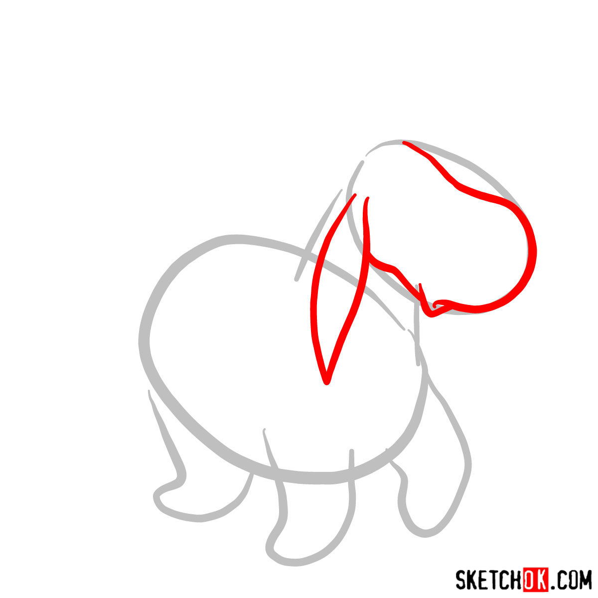 How to draw Eeyore - step 02