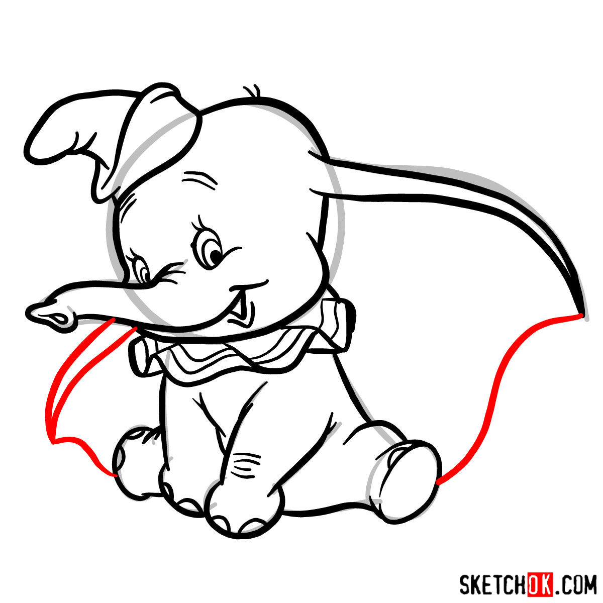 How to draw Dumbo the elephant - step 10