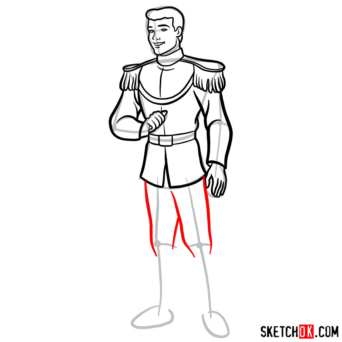 How to draw Prince Charming - step 10