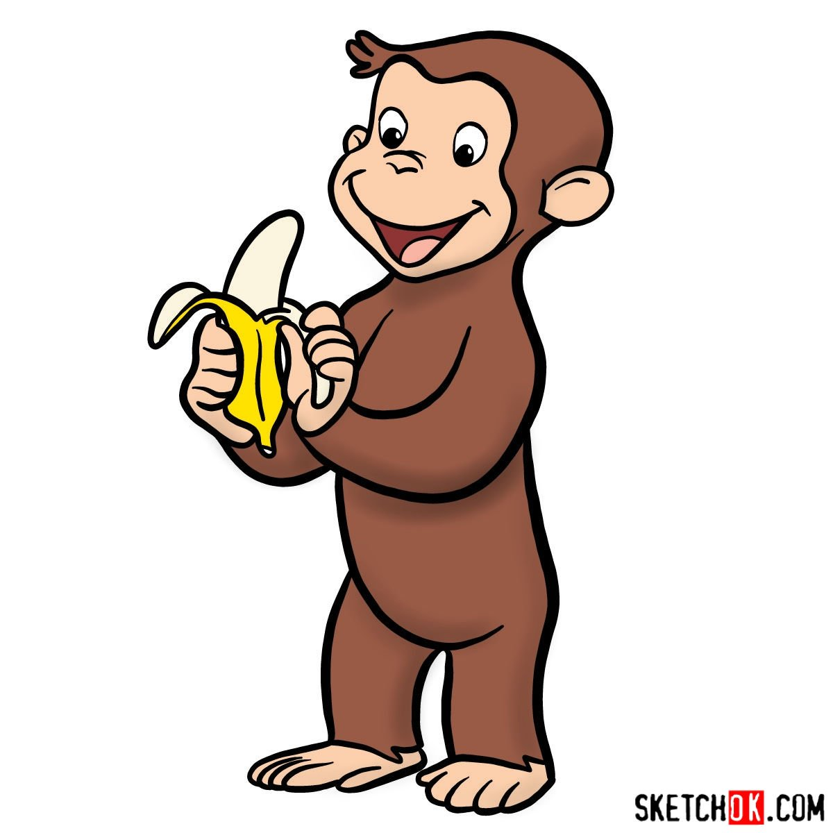 How to draw Curious George - coloring