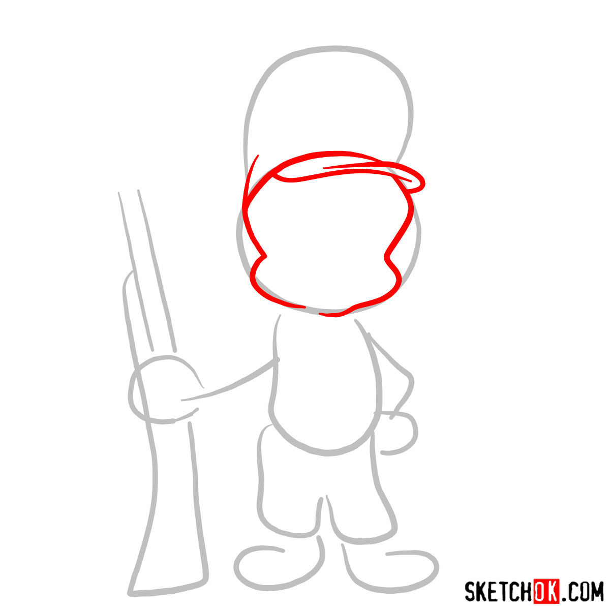 How to draw Elmer Fudd (Egghead) - step 02