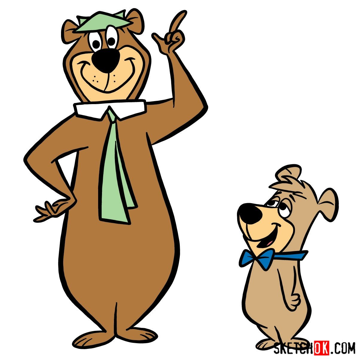 How to draw Yogi Bear and Boo-Boo Bear - coloring