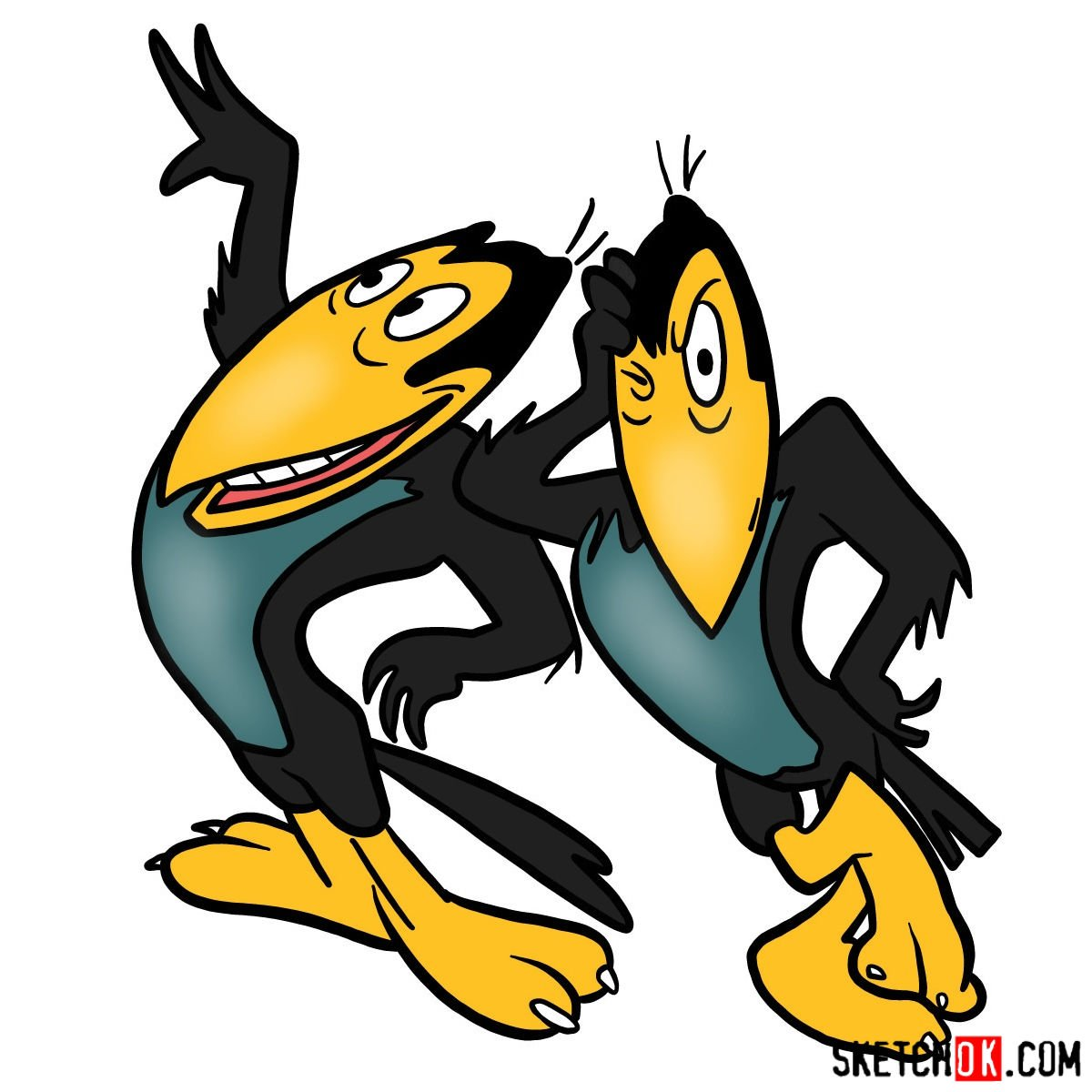 How to draw Heckle and Jeckle - coloring