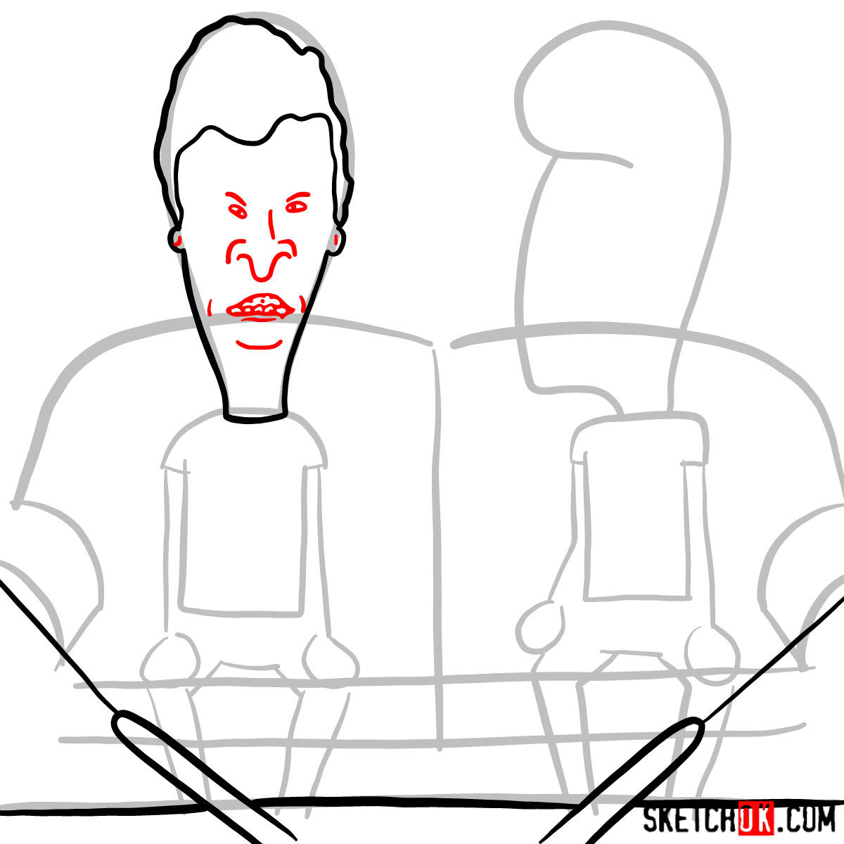How to draw Beavis and Butt-Head - step 05