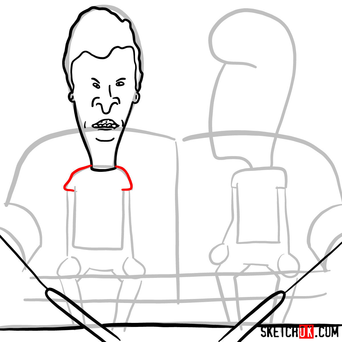 How to draw Beavis and Butt-Head - step 06