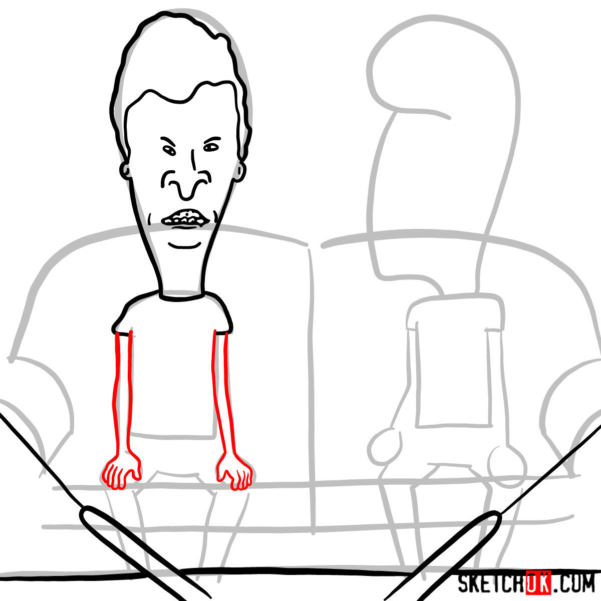 How to draw Beavis and Butt-Head - step 07