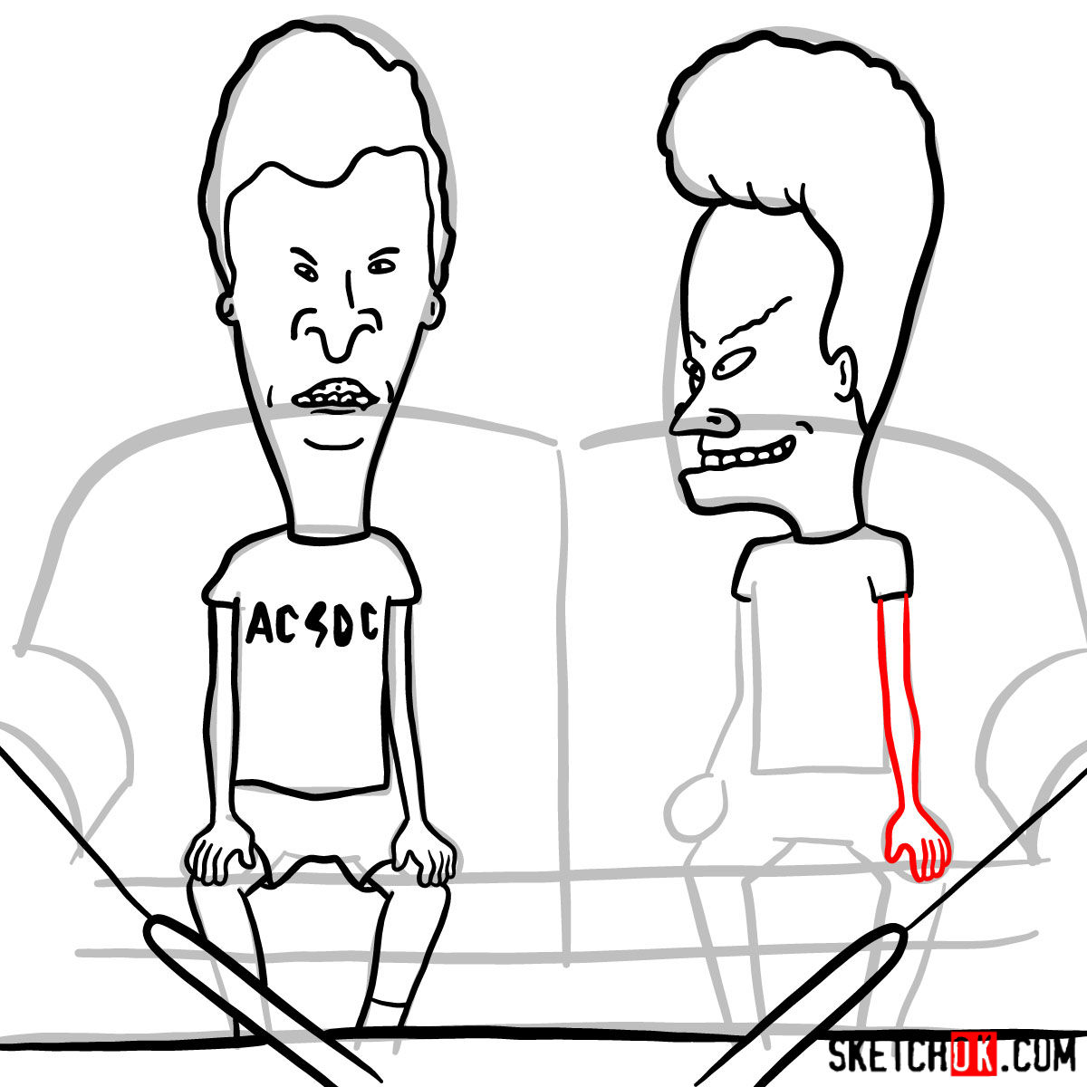 How to draw Beavis and Butt-Head - step 14