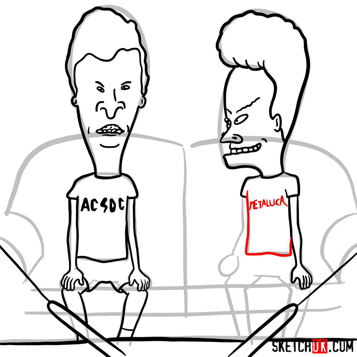 How to draw Beavis and Butt-Head - step 15