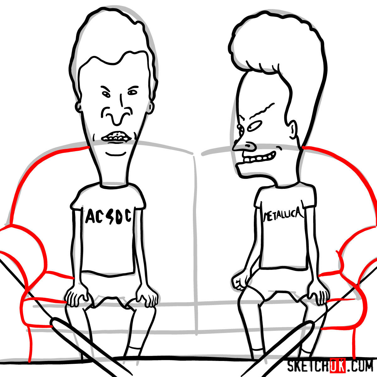 How to draw Beavis and Butt-Head - step 19