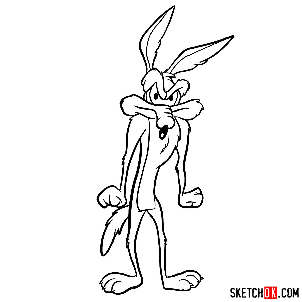 How to draw Wile E. Coyote - step 11