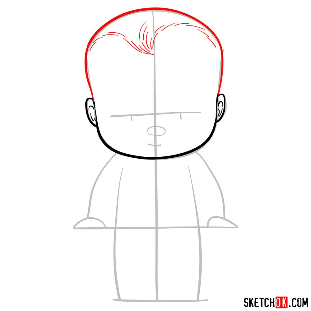 How to draw The Boss Baby - step 04