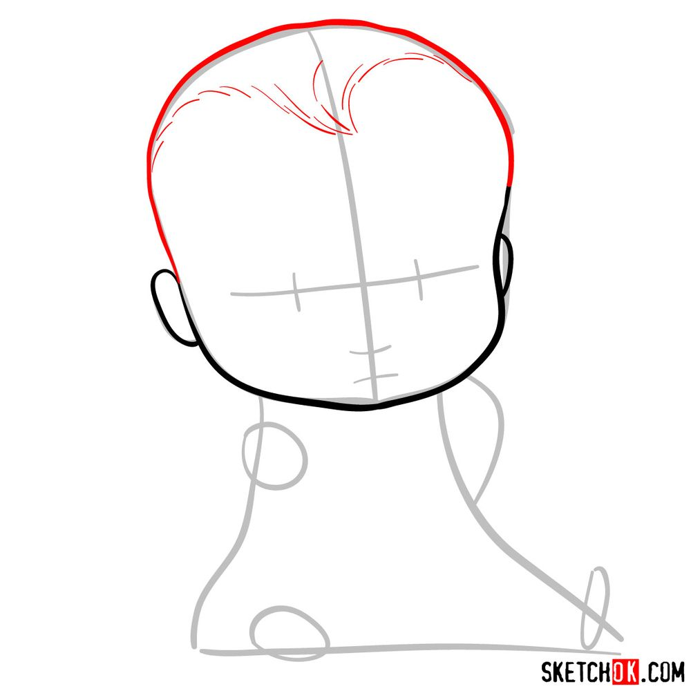 How to draw the Boss Baby in a formal suit - step 04