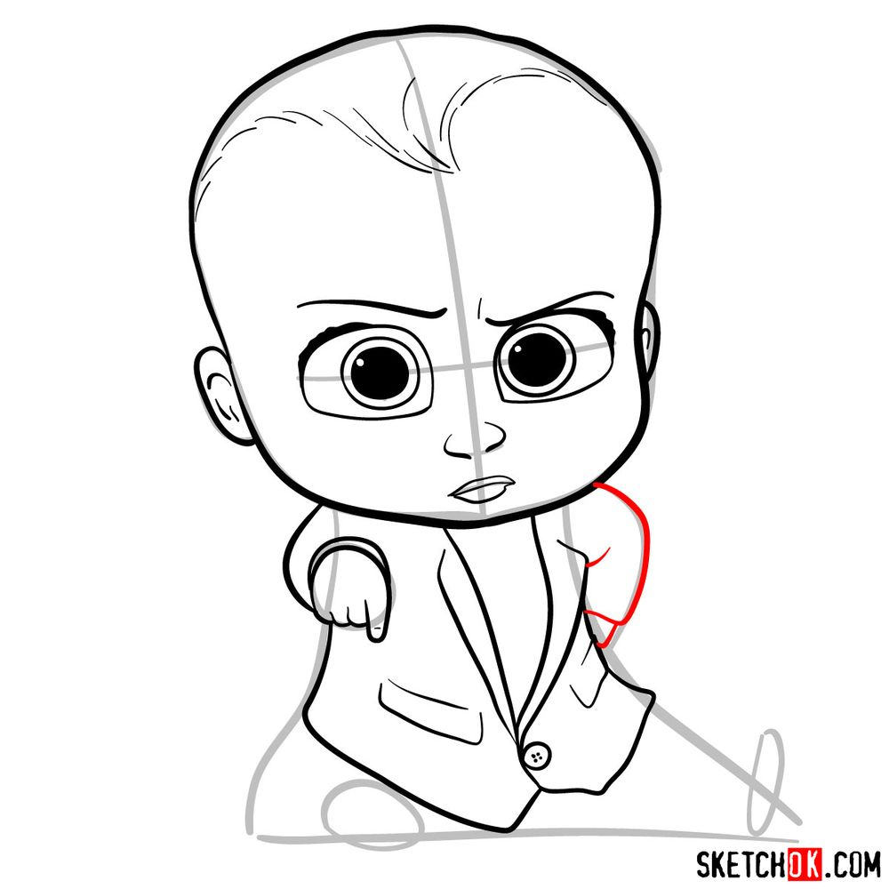 How to draw the Boss Baby in a formal suit - step 10