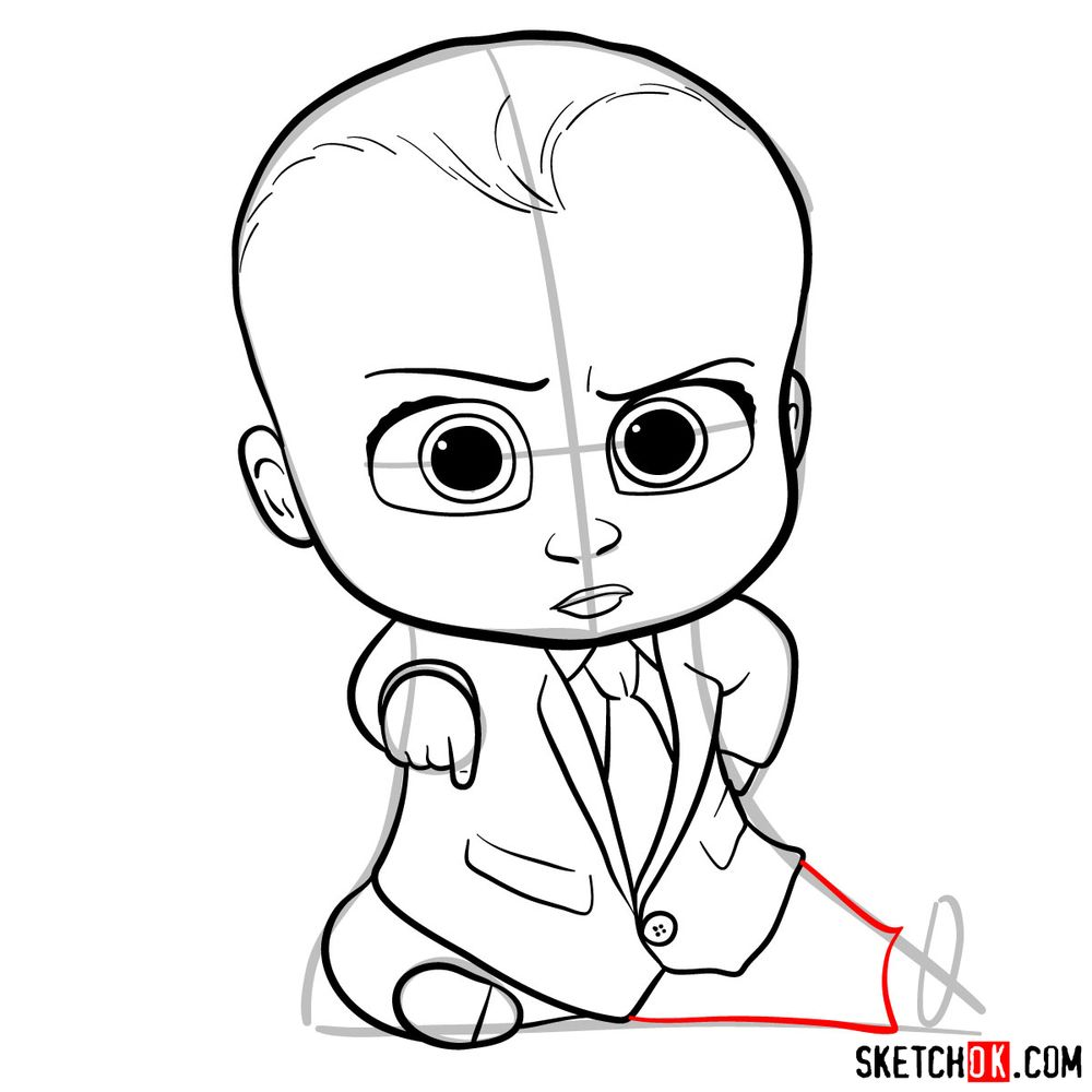 How to draw the Boss Baby in a formal suit - step 13