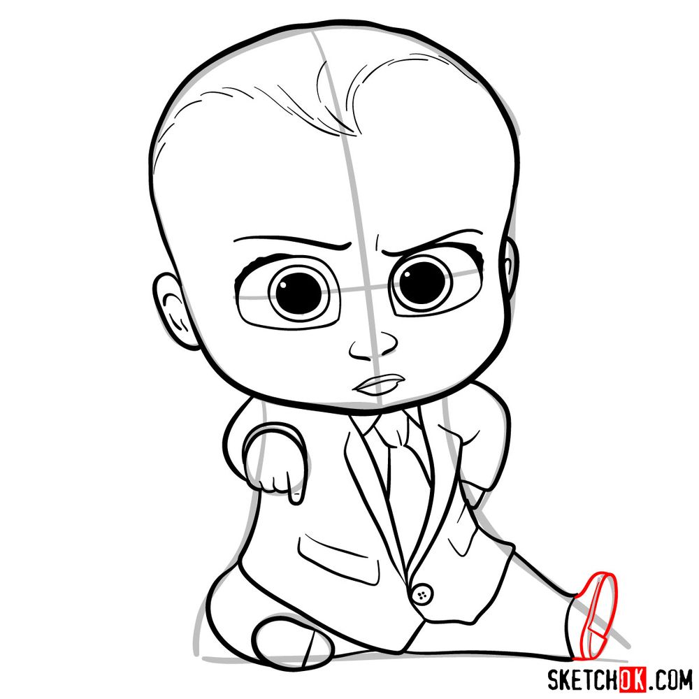 How to draw the Boss Baby in a formal suit - step 14