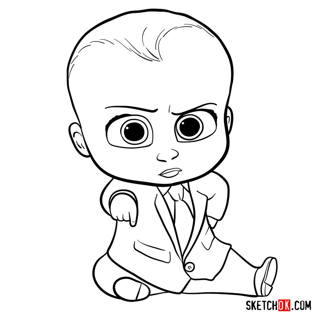 How to draw the Boss Baby in a formal suit - step 15