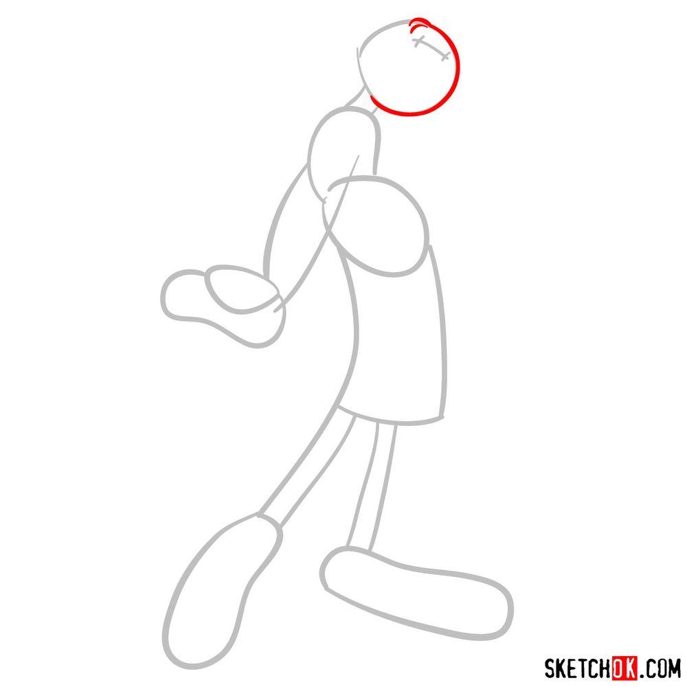 How to draw Olive Oyl - step 03