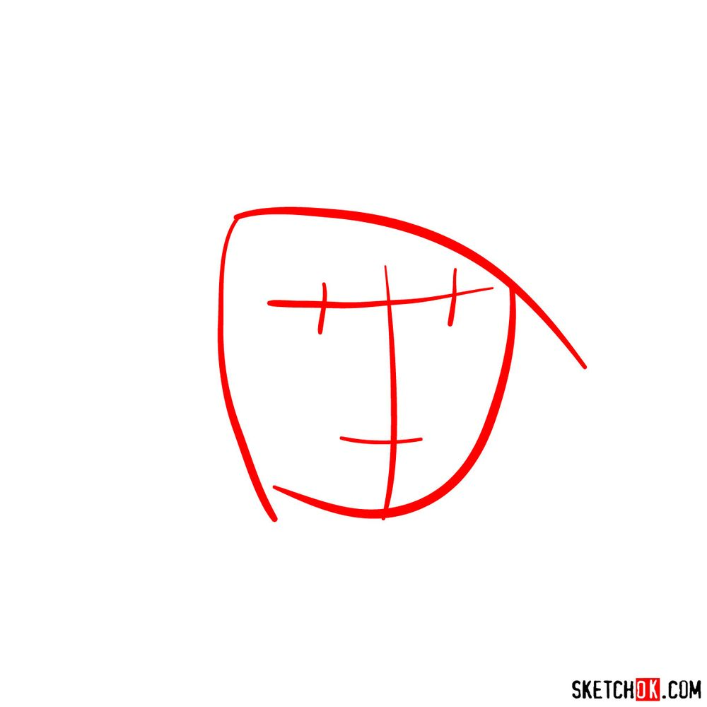 How to draw Kim Possible's face - step 01