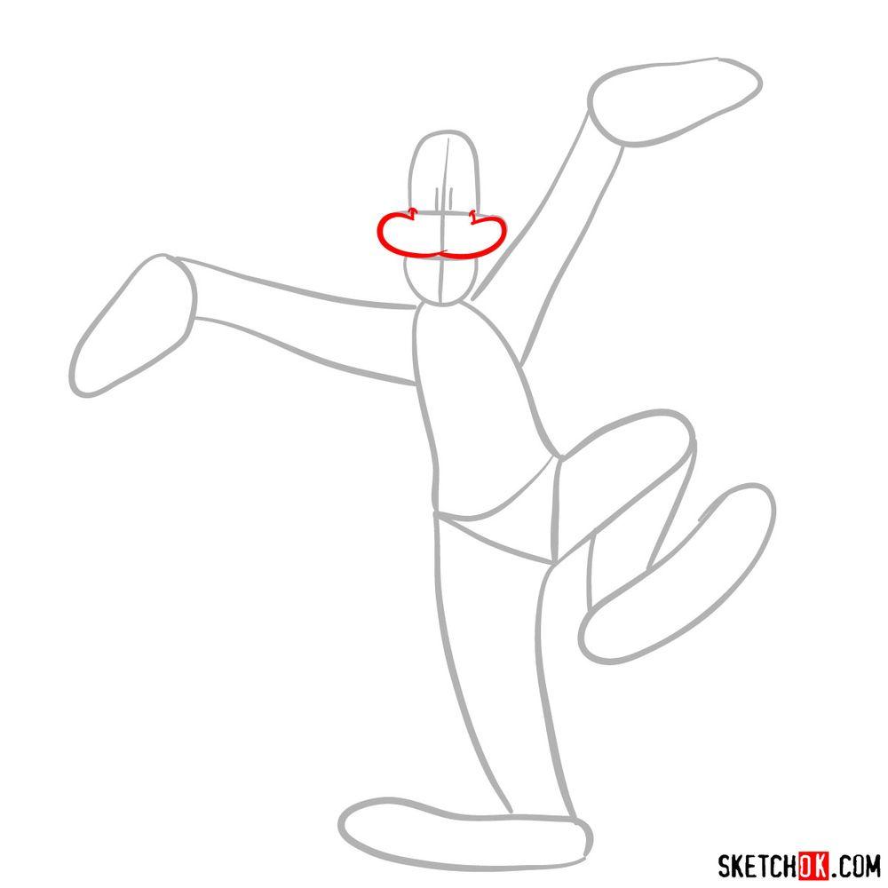 Draw happy Goofy step-by-step - step 03