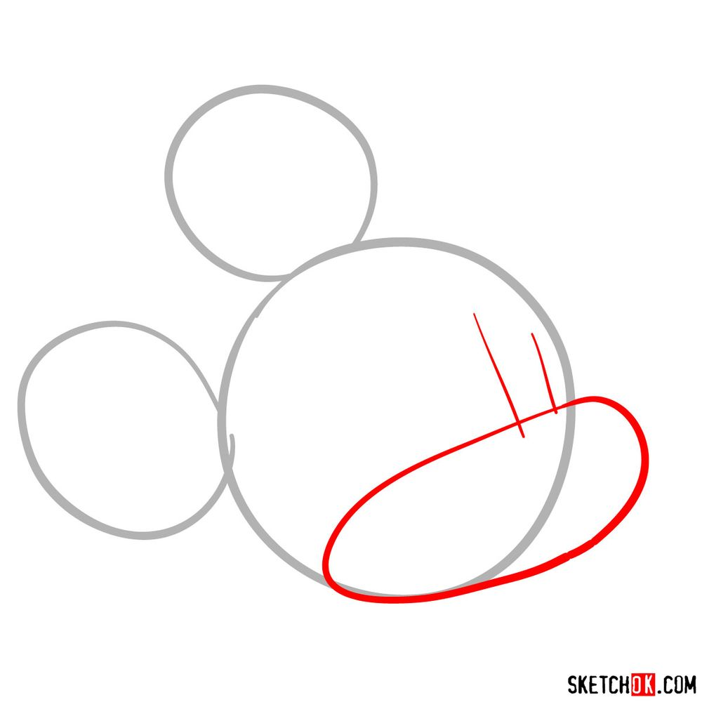 How to draw Mickey Mouse's head (side view) - step 02
