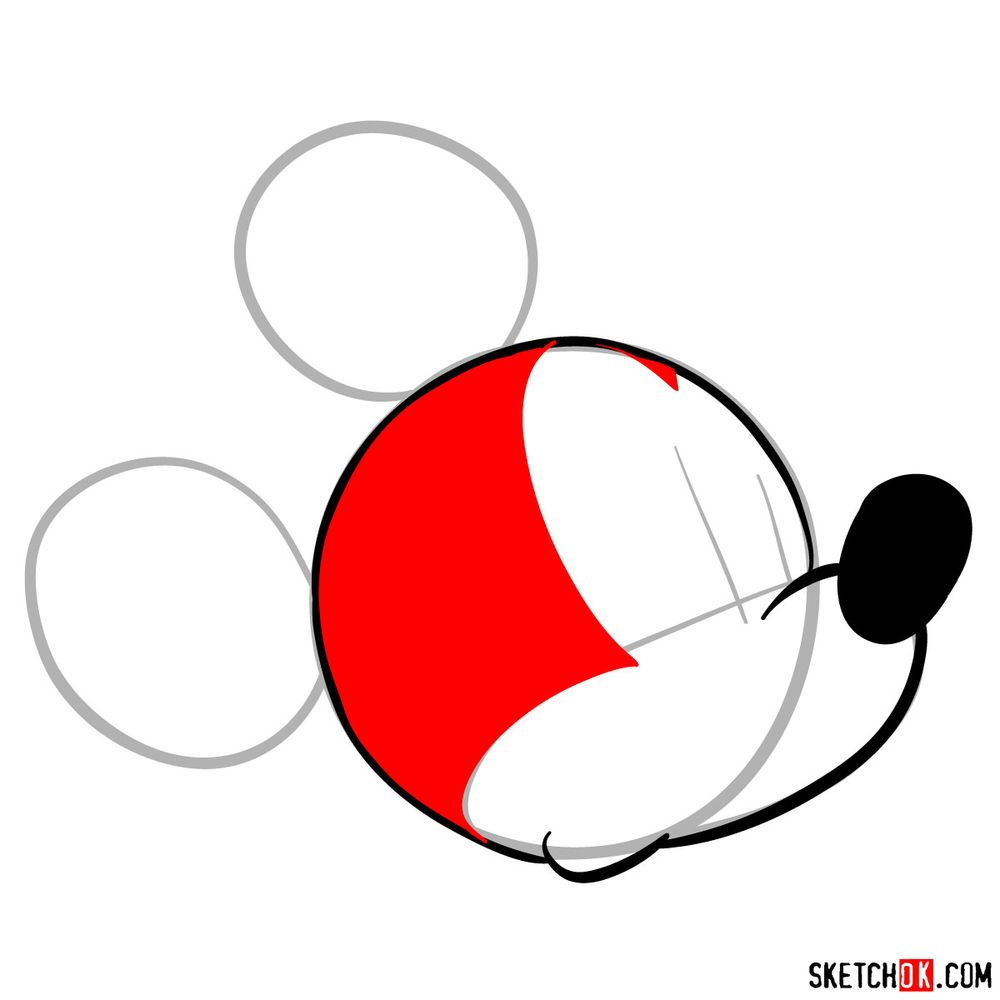 How to draw Mickey Mouse's head (side view) - step 05