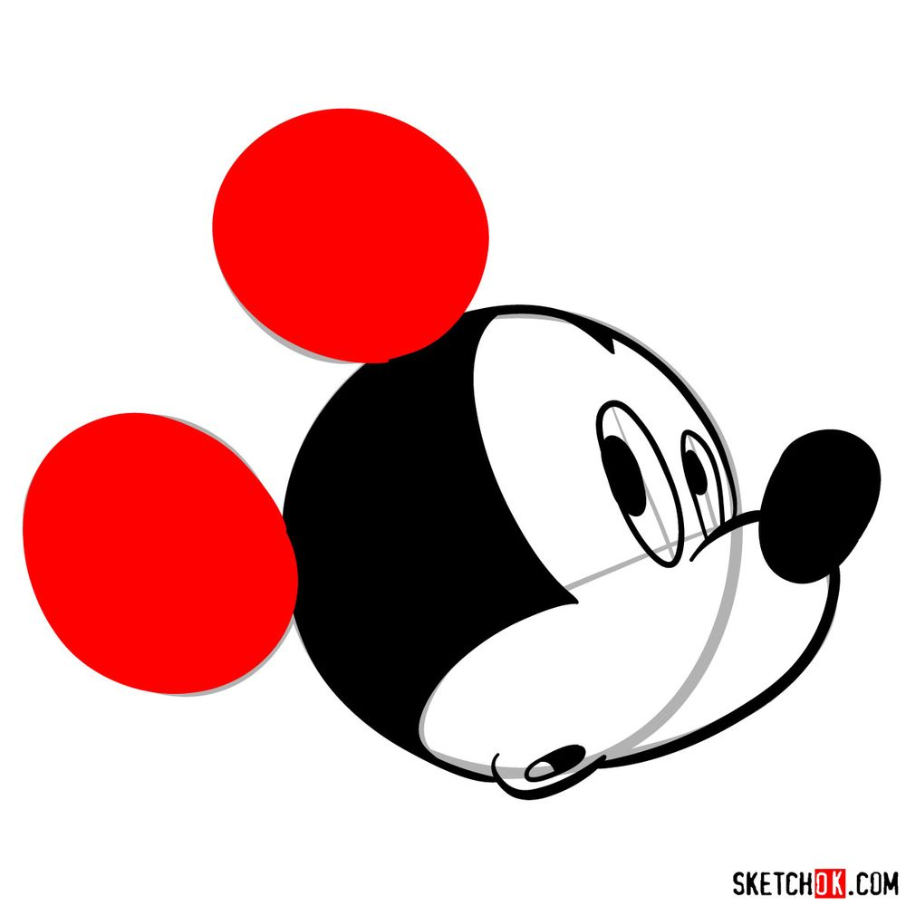 How to draw Mickey Mouse's head (side view) - step 08