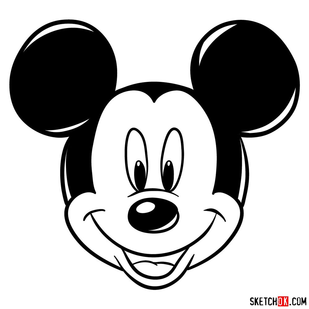 Draw the face of Mickey Mouse (front view)