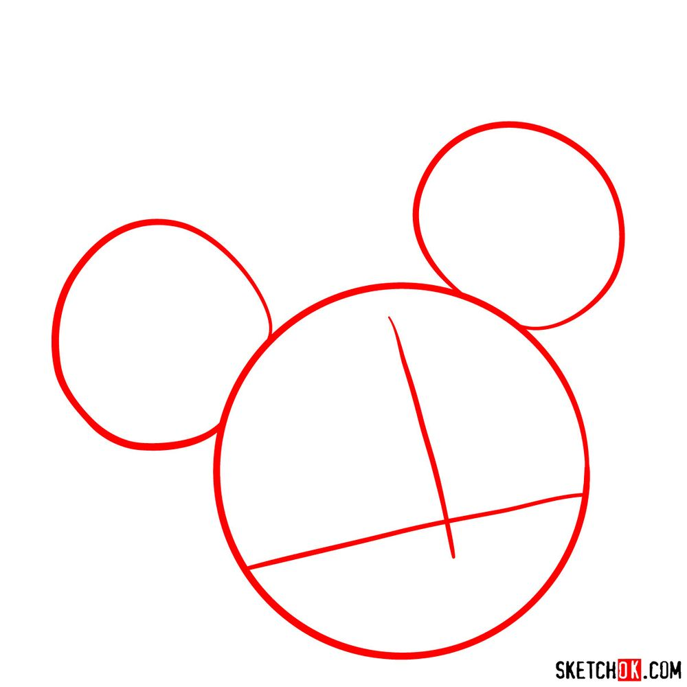 Draw the cute face of Minnie Mouse in 12 steps - step 01