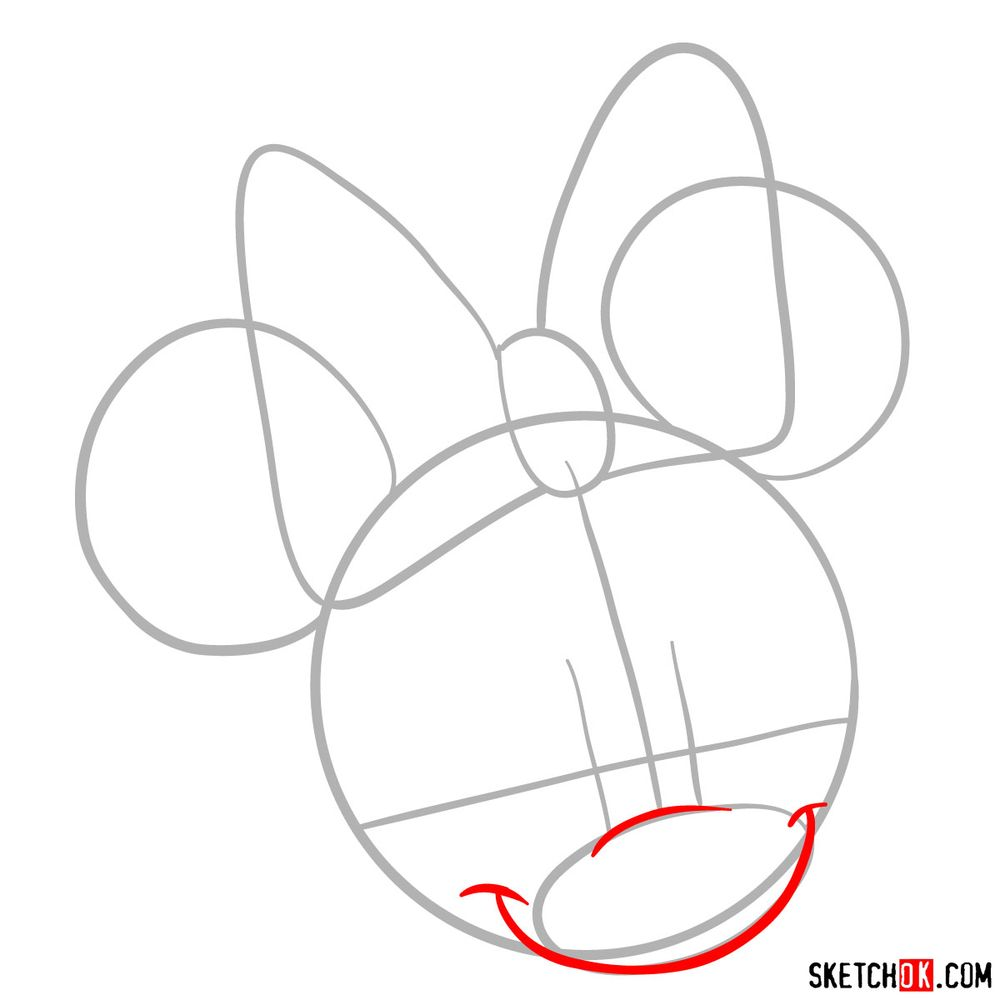 Draw the cute face of Minnie Mouse in 12 steps - step 03