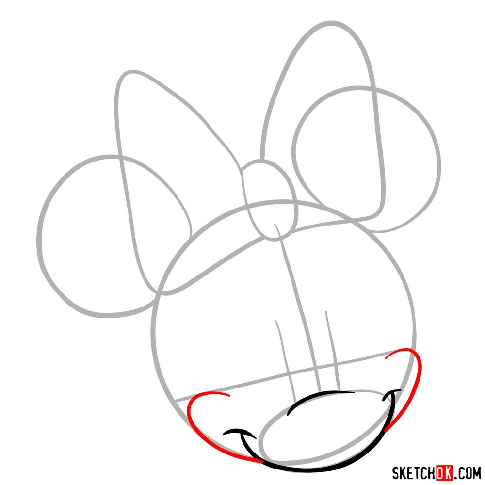 Draw the cute face of Minnie Mouse in 12 steps - step 04