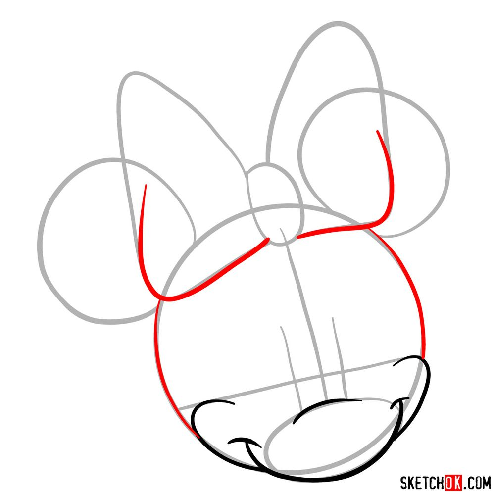 Draw the cute face of Minnie Mouse in 12 steps - step 05
