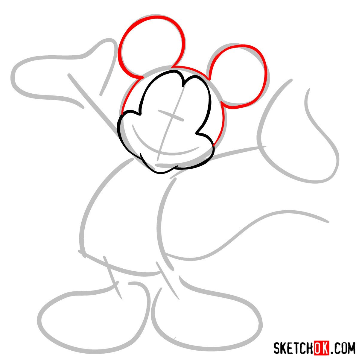 How to draw Mickey Mouse - step 03